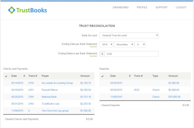 Trustbooks Reconciliation